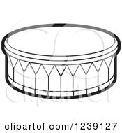 Clipart Of A Black And White Drum Royalty Free Vector Illustration