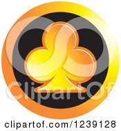 Clipart Of A Gradient Orange Playing Card Club Icon Button Royalty Free Vector Illustration