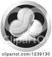 Clipart Of A Round Silver And Black Playing Card Club Icon Button Royalty Free Vector Illustration