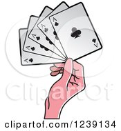 Clipart Of A Hand Holding Four Ace Club Playing Cards Royalty Free Vector Illustration