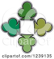 Clipart Of Four Green Playing Card Clubs Royalty Free Vector Illustration