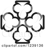 Clipart Of Four Black And White Playing Card Clubs Royalty Free Vector Illustration