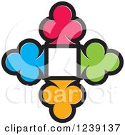 Clipart Of Four Colorful Playing Card Clubs Framing A Square Royalty Free Vector Illustration
