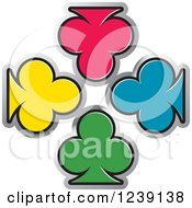 Clipart Of Four Colorful Playing Card Clubs Royalty Free Vector Illustration