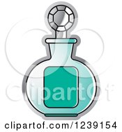 Clipart Of A Turquoise Perfume Bottle Royalty Free Vector Illustration