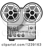 Clipart Of A Silver Movie Projector And Film Reels Royalty Free Vector Illustration