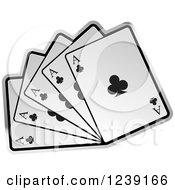 Clipart Of Five Ace Playing Cards Royalty Free Vector Illustration