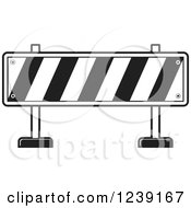 Clipart Of A Black And White Road Block Construction Barrier Royalty Free Vector Illustration