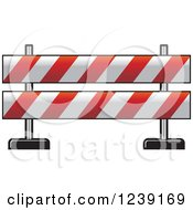 Clipart Of A Red And White Road Block Construction Barrier Royalty Free Vector Illustration