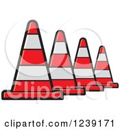 Clipart Of A Row Of Road Construction Traffic Cone Royalty Free Vector Illustration