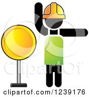 Clipart Of A Road Construction Worker With A Round Sign Royalty Free Vector Illustration