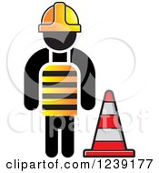 Clipart Of A Construction Worker And A Traffic Cone Royalty Free Vector Illustration