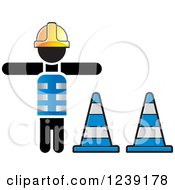 Clipart Of A Construction Worker And Traffic Cones Royalty Free Vector Illustration