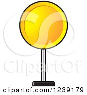 Clipart Of A Round Yellow Road Sign Royalty Free Vector Illustration
