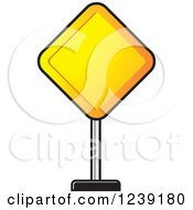Clipart Of A Diamond Yellow Road Sign Royalty Free Vector Illustration