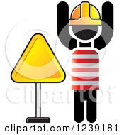 Clipart Of A Road Construction Worker With A Triangle Sign Royalty Free Vector Illustration