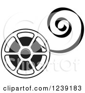 Clipart Of A Black And White Film Reel With Curling Tape Royalty Free Vector Illustration by Lal Perera