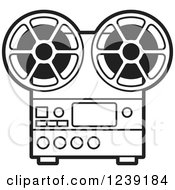 Clipart Of A Silver Movie Projector And Film Reels Royalty Free Vector Illustration by Lal Perera
