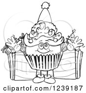 Black And White Christmas Cupcake With Presents