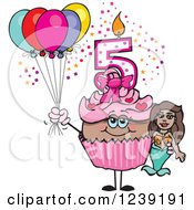 Clipart Of A Pink Girls African Fifth Birthday Cupcake With A Mermaid And Balloons Royalty Free Vector Illustration by Dennis Holmes Designs