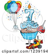 Clipart Of A Blue Boys African Seventh Birthday Cupcake With A Remote Control Car And Balloons Royalty Free Vector Illustration
