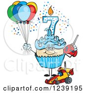 Clipart Of A Blue Boys Asian Seventh Birthday Cupcake With A Remote Control Car And Balloons Royalty Free Vector Illustration