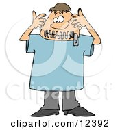 Funny Man With A Zipped Mouth Clipart Illustration