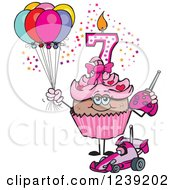 Clipart Of A Pink Girls African Seventh Birthday Cupcake With A Remote Control Car And Balloons Royalty Free Vector Illustration