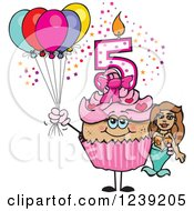 Clipart Of A Pink Girls Latina Fifth Birthday Cupcake With A Mermaid And Balloons Royalty Free Vector Illustration by Dennis Holmes Designs