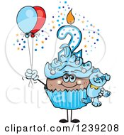 Clipart Of A Blue Boys African Second Birthday Cupcake With A Teddy Bear And Balloons Royalty Free Vector Illustration