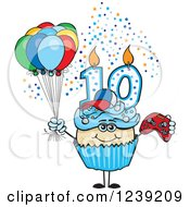 Clipart Of A Blue Boys Asian Tenth Birthday Cupcake With A Video Game Controller And Balloons Royalty Free Vector Illustration