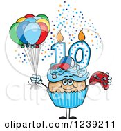 Clipart Of A Blue Boys Latino Tenth Birthday Cupcake With A Video Game Controller And Balloons Royalty Free Vector Illustration