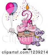 Clipart Of A Pink Girls African Second Birthday Cupcake With A Teddy Bear And Balloons Royalty Free Vector Illustration