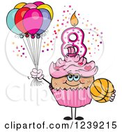 Clipart Of A Pink Girls Latina Eighth Birthday Cupcake With A Basketball And Balloons Royalty Free Vector Illustration