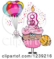 Clipart Of A Pink Girls African Eighth Birthday Cupcake With A Basketball And Balloons Royalty Free Vector Illustration