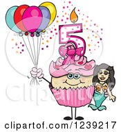 Clipart Of A Pink Girls Asian Fifth Birthday Cupcake With A Mermaid And Balloons Royalty Free Vector Illustration by Dennis Holmes Designs