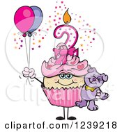Clipart Of A Pink Girls Asian Second Birthday Cupcake With A Teddy Bear And Balloons Royalty Free Vector Illustration