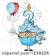Clipart Of A Blue Boys Latino Second Birthday Cupcake With A Teddy Bear And Balloons Royalty Free Vector Illustration