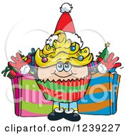 Clipart Of A Caucasian Christmas Cupcake With Presents Royalty Free Vector Illustration