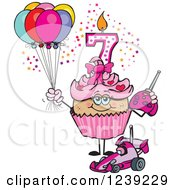 Clipart Of A Pink Girls Latina Seventh Birthday Cupcake With A Remote Control Car And Balloons Royalty Free Vector Illustration