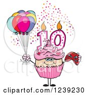 Clipart Of A Pink Girls Asian Tenth Birthday Cupcake With A Video Game Controller And Balloons Royalty Free Vector Illustration