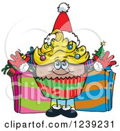 Clipart Of A Black Christmas Cupcake With Presents Royalty Free Vector Illustration