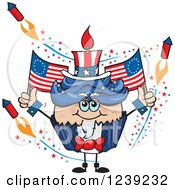 Clipart Of A Patriotic American Uncle Sam Cupcake With Fireworks And Flags Royalty Free Vector Illustration
