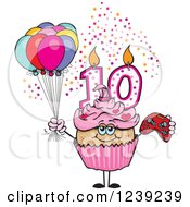 Clipart Of A Pink Girls Latina Tenth Birthday Cupcake With A Video Game Controller And Balloons Royalty Free Vector Illustration by Dennis Holmes Designs