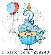 Clipart Of A Blue Boys Asian Second Birthday Cupcake With A Teddy Bear And Balloons Royalty Free Vector Illustration by Dennis Holmes Designs
