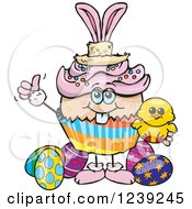 Clipart Of A Caucasian Easter Bunny Cupcake With A Chick And Eggs Royalty Free Vector Illustration