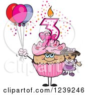 Clipart Of A Pink Girls Latina Third Birthday Cupcake With A Doll And Balloons Royalty Free Vector Illustration by Dennis Holmes Designs