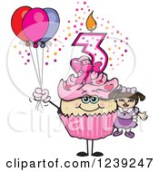 Clipart Of A Pink Girls Asian Third Birthday Cupcake With A Doll And Balloons Royalty Free Vector Illustration by Dennis Holmes Designs