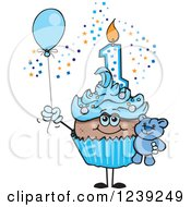 Clipart Of A Blue Boys African First Birthday Cupcake With A Teddy Bear And Balloon Royalty Free Vector Illustration by Dennis Holmes Designs