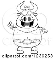 Clipart Of A Black And WhiteSmart Minotaur Bull Man With An Idea Royalty Free Vector Illustration